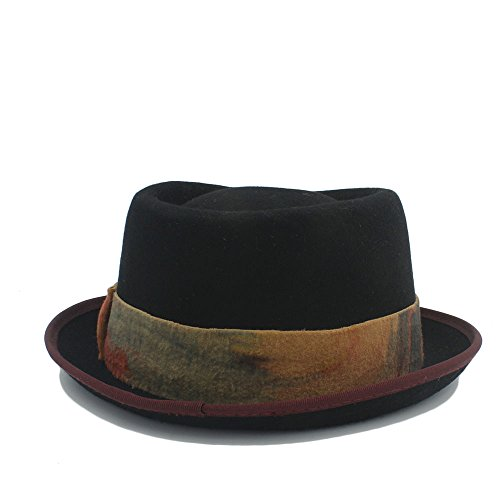 Zlq Negro Cm 57 Del 58 Con De Lana Cinta Tamaño Empanada 2 Sombrero Algodón El Vintage Cerdo 2 Superior Teñido Dril La color 8qr8xwH1