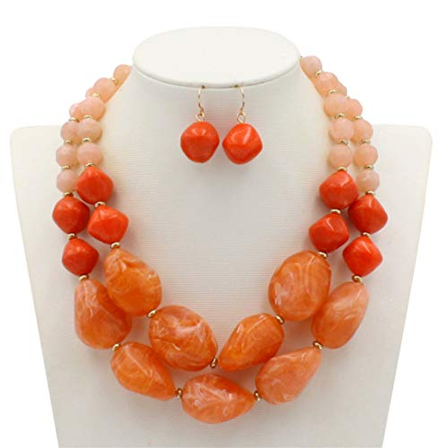 Ufraky Fashion Jelly Color Beads Statement Necklace and Earrings Set for Women Gift (Orange) -