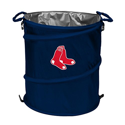Logo Cooler Blue, Boston Red Sox 3-in-1 Trash Can Outdoor Collapsible Cooler (Logo Collapsible Trash Can Cooler)