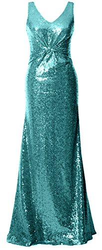 MACloth Turquoise Neck V Bridesmaid Dress Gorgeous Straps Long Gown Evening Sequin Formal rfUrwq