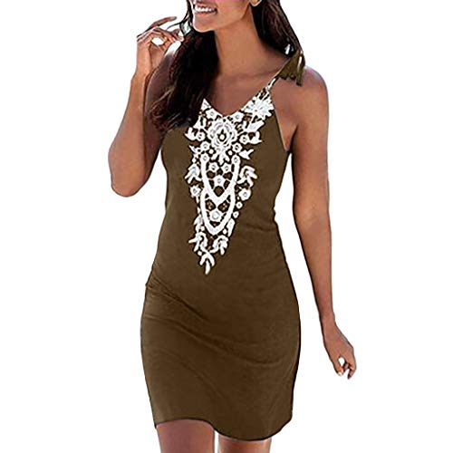 Womens Summer Casual Sleeveless Retro Print Halter Beach Short Dress Mini Dresses (Coffee -15, L)