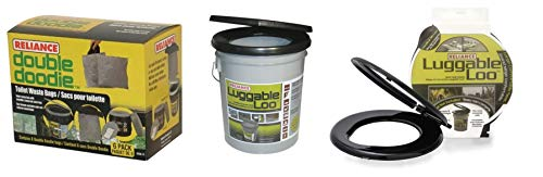 Reliance Products Luggable Loo Bucket Seat & Cover with 6 Waste Bags Bundle ()