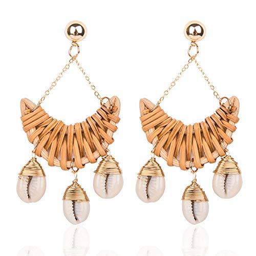 - KissYan Handmade Shell Rattan Earrings for Women Boho Weave Straw Lightweight Statement Drop Dangle Earrings Ocean Sea Style(Camber)