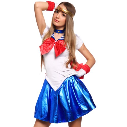 Sailor Moon Uranus Costume (Sailor Moon Sailor Venus Sailor Uranus Serena Cosplay Costume with Gloves Copmplete Outfit S M)