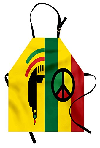 Ambesonne Rasta Apron, Iconic Barret Reggae and Jamaican Music Culture with Peace Symbol and Borders, Unisex Kitchen Bib Apron with Adjustable Neck for Cooking Baking Gardening, Red Green (Peace Apron)