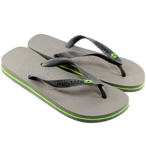 Womens Havaianas Brasil Beach Rubber Original Casual Sandals Flip Flops Grey tjLZVg7Q