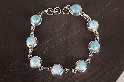 (Handmadejewelry - Beautiful Handmade Larimar Gemstone Bracelet | 925 Sterling Silver | Multi-Stone Band | Vintage Design | Round Shape | 7.80 inches Long | Charm Bangle | Perfect Gift for Women )