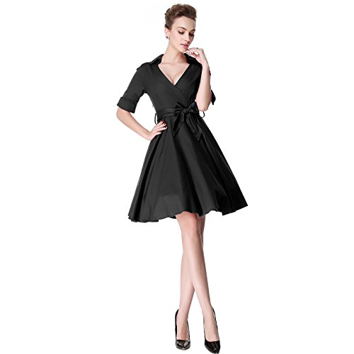 Vintage Heroecol Cocktail 50s 1950s Neck Rockabiily Black Style Dress Retro V pB4w1Bqd
