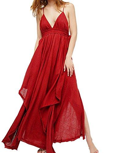 R.Vivimos Women Summer Spaghetti Straps V Neck Sexy Backless Asymmetrical Maxi Dresses