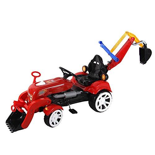 2 in 1 Radlader Bagger 135cm Kindertraktor Trettraktor Tretauto Tretfahrzeug (rot) toys4u