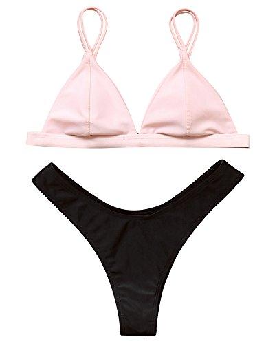 MOSHENGQI Women Brazilian Top Thong Cheeky Bottom Spaghetti Strap Swimsuit Bikini Set(S(US Size 2-4),Black)