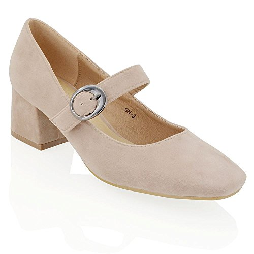 ESSEX GLAM Gamuza Sintética Zapatos de salón de punta cuadrada con tacón bajo cuadrado y hebilla Beige Gamuza Sintética