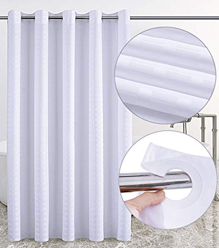 Conbo Mio Hookless Shower Curtain for Bathroom Waterproof Rust Proof with Magnet Premium ABS Flex On Rings (White, 71 x 74)               - One Ring Shower