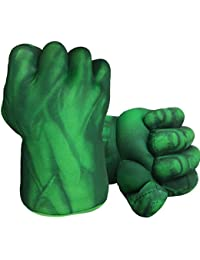 Hulk Hands Gloves Hulk Toy Fists Kids Soft Plush Hulk Costume Accessories Superhero Costumes Gloves Cosplay for Boy Girl Christmas Halloween Birthday Gift (1 Pair) Green