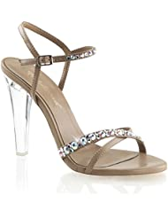 Womens Nude and Clear Pageant Shoes with Rhinestone Detail and 4.5 Inch Heels