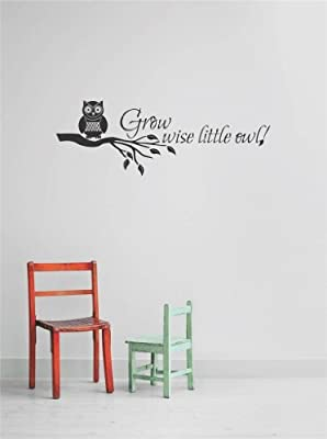 Decal - Vinyl Wall Sticker : Grow Wise Little Owl New Born Boy Girl Nursery Life Celebration Quote Living Room Bedroom Kitchen Home Decor Picture Art Image Peel & Stick Graphic Mural Design Decoration - Discounted Sale Price - Size : 12 Inches X 26 Inches