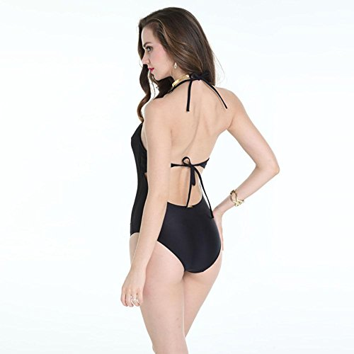 SZH YIBI Traje de baño del bikiní de la gasa gorda conservadora traje de baño del tamaño grande del traje de baño negro Black