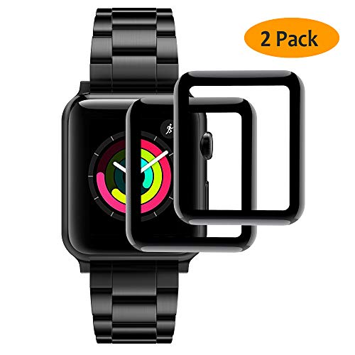 [2-Pack] Hianjoo Compatible Apple Watch 42mm Tempered Glass Screen Protector [3D Curved Full Coverage], Anti-Scratch, Bubble Free, Screen Protector for Apple iWatch 42mm Series 3/2/1 - Black Edge