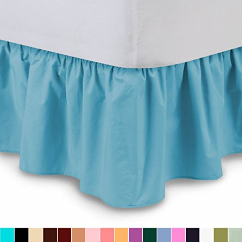 ueen, Aqua) 14 Inch Drop Dust Ruffle with Platform, Wrinkle and Fade Resistant - by Harmony Lane (Available in all bed sizes and 16 colors) (Aqua Ruffled Skirt)