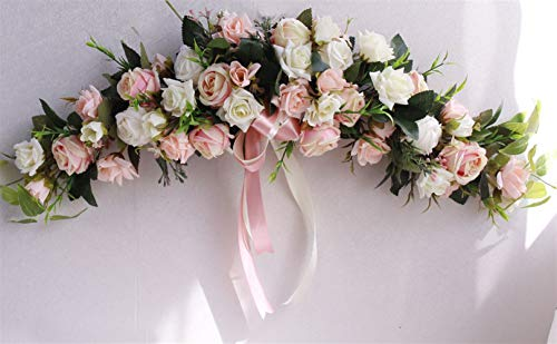 Liveinu Handmade Floral Artificial Simulation Peony Flowers Garland Wreath Wedding Table Centerpieces for Home Party Decor 23 Inch Pink White Roses Swag Wreath