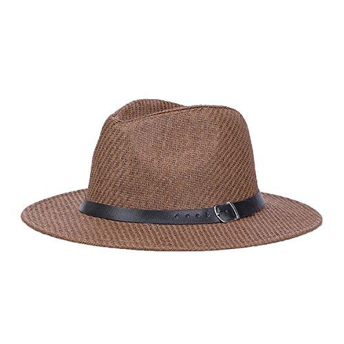 (Hat Men's 2018 Summer England Jazz Hat Linen Simple Sun Hat Hat Visor Wholesale,Brown)