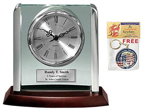 ed Clock with Silver Post Suspended on Acrylic Silver Engraving Plate Personalized Retirement Wedding Gift Employee Recognition Award Anniversary Service Employee Coworker Retire ()