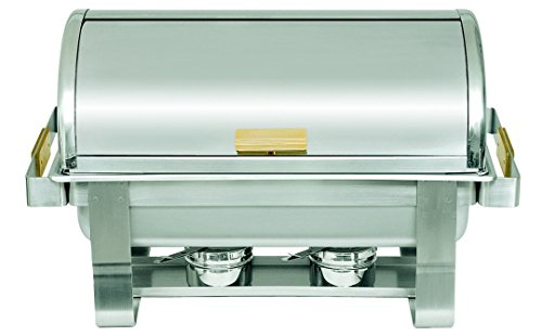 (Update International (RTC-8) 8 Qt Stainless Steel Rectangular Gold-Accented Roll-Top)