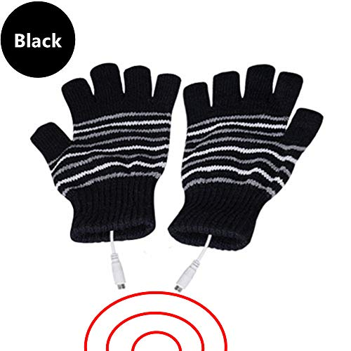DECVO USB 2.0 Powered Stripes Heating Pattern Knitting Wool Heated Gloves Fingerless Hands Warmer Mittens Laptop Computer Warm Gloves for Women Men Girls Boys (Black)