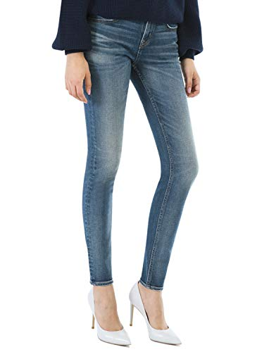 Vintage Low Rise Stretch Denim - D-ID Women's Skinny Jeans Blue Skinny Ankle Mid Rise Jean Dark Wash Long Jeans 220220 29×26 Vintage Mid Blue