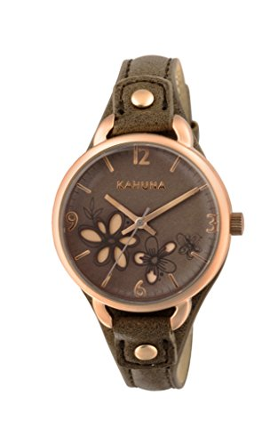 Kahuna–Reloj de cuarzo para mujer con correa de PU Gris Esfera Analógica Pantalla y marrón KLS-0310L