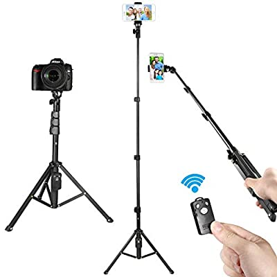 KAMISAFE Selfie Stick Tripod Adjustable Phone Tripod Stand with Universal Clip Compatible with iPhone X 8 8 Plus 7 7 Plus Samsung Galaxy Note 8 S8 S8 Plus …