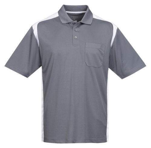 Tri-Mountain Performance K145P Mens 100% Polyester Knit S/S Golf Shirt - Gray/White - LT