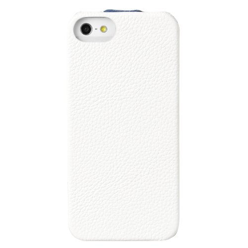 Melkco Limited Edition Jacka Type Leder Case für Apple iPhone 5 weiß/dunkelblau