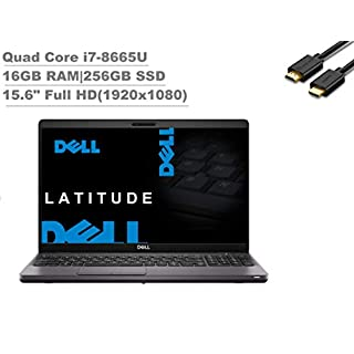 "2020 Dell Latitude 5000 5500 15.6"" Full HD FHD (1920x1080) Business Laptop (Intel Quad-Core i7-8665U, 16GB RAM, 256GB SSD) Backlit, Fingeprint, Type-C, HDMI, Webcam, Windows 10 Pro + IST HDMI Cable"