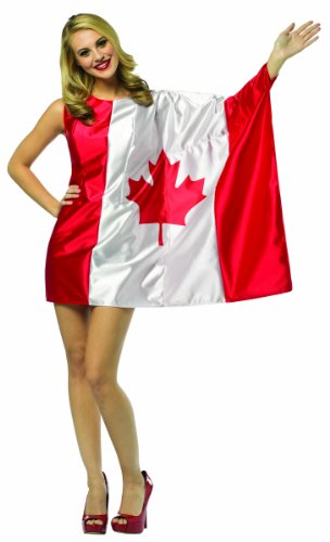 M&m Halloween Costumes Canada (Rasta Imposta Flag Dress Canada, Red/White, Adult)