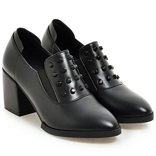Shoes 6231 Black TAOFFEN Chunky Court Heels Women's qxwx7UaI