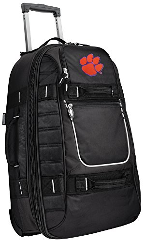 Small Clemson University Carry-On Bag Wheeled Suitcase Luggage Bags by Broad Bay