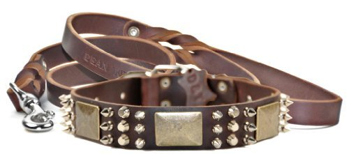 Dean & Tyler 18-Inch Crazy Combo Collar with 6-Feet Matching Love to Walk Leash, Brown
