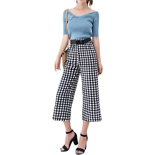 QZUnique Women's Casual Wide Leg Pants High Waisted Chic Split Side Loose Trousers with Waistband Plaid US S - Detail Wide Leg Trousers