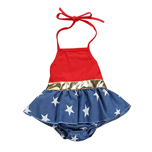 Baby Girls Boy 4th of July Dress Ruffled Lace Romper American Flag Bodysuit Jumpsuit with Band Set 3M-3T Red