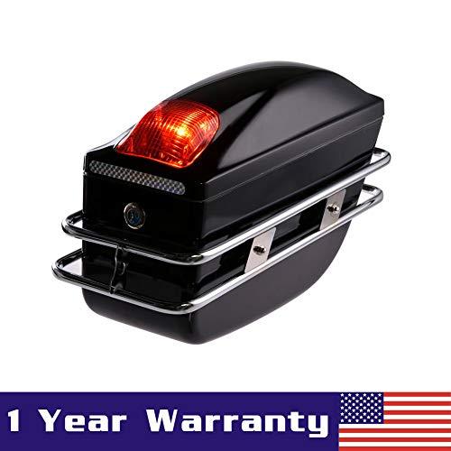 (Ai CAR FUN 2 Pcs Motorcycle Cruiser Hard Trunk Saddlebags Luggage w/Lights Mounted Chrome Rail Bracket Black)
