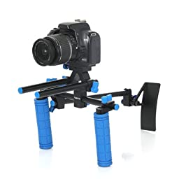 Koolertron Pro Professional DSLR Video Movie Kit Combination PAD Shoulder Support Mount Rig+Pro C Shape Support Cage+Top Handle+2 Hand Grips With 15mm Rail Rods+ 7\