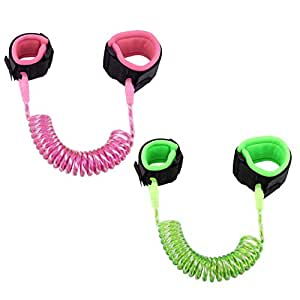 [2 Pack] Anti Lost Wrist Link, Zooawa Child Outdoor Safety Hook and Loop Wristband Leash Child Safety Harness for Kids and Toddlers, 1.5M Fluorescent Pink + 1.8M Fluorescent Green