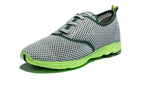 Viihahn Men's Breathable Mesh Lace-Up Quick Drying Aqua Water Shoes Grey PayU3fQPh