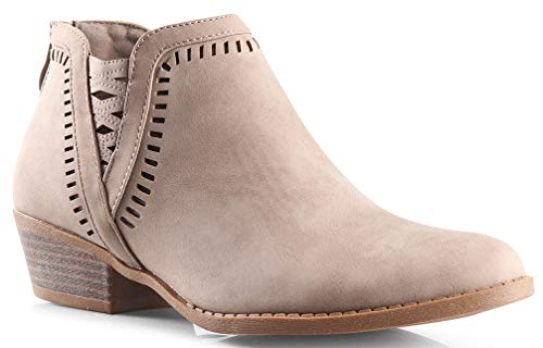LUSTHAVE Perforated Laser Cut Out Stacked Zotty Chunky Low Heel Ankle Bootie - Side V-Cut Back Zipper Boots KHA PU 7