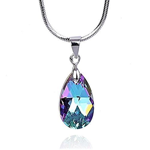 Mother Pendant Pearl Of Aqua (NickAngelo's Crystal Necklace for Women Teardrop Pendant 18K White Gold Plated Made with Swarovski Elements Fashion Jewelry (Aquamarine, Vitrail))