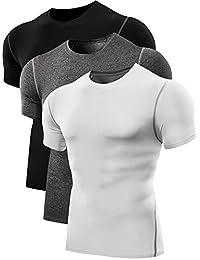 Neleus Men's 3 Pack Athletic Compression Under Base Layer Sport Shirts