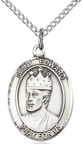 Edward the Confessor Medal in Fine Pewter St 3//4 tall 18 Rhodium Plated Clasp Chain