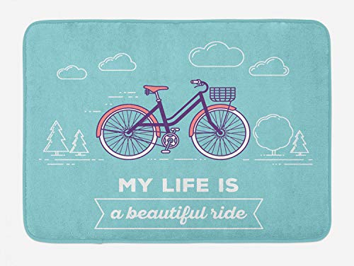 Ambesonne Quote Bath Mat, Retro Pastel Bike with Basket and Text My Life is a Beautiful Ride, Plush Bathroom Decor Mat with Non Slip Backing, 29.5 W X 17.5 L Inches, Pale Blue Dark Purple Coral