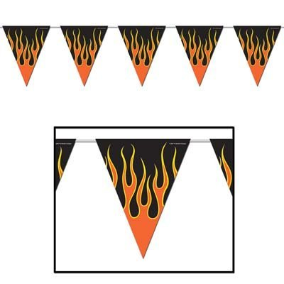 Beistle Party Decoration Flame Pennant Banner 10'' x 12'- Pack of 12